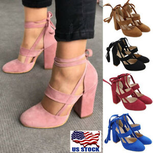 4d8ee43df33 USA Women s Suede Block High Heels Lace Up Ankle Strap Pumps Open ...