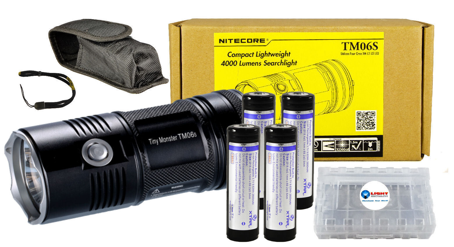 NITECORE TM06S 4x CREE XM-L2 U3 LED 4000 Lumens Compact Flashlight w  4x 18650