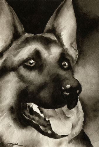 German Shepherd Art Print Sepia Watercolor Painting by Artist DJR