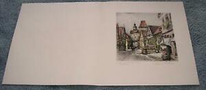 ANTIQUE PAUL GEISSLER GERMANY VILLAGE CHRISTMAS PENCIL SIGNED ORIG ETCHING PRINT