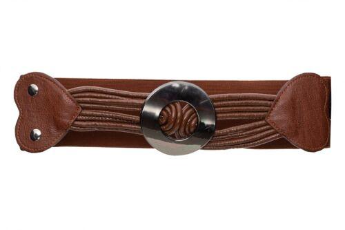 Elastic Wide Waist Belt Press Studs Round Buckle Casual Waistband One Size FP31