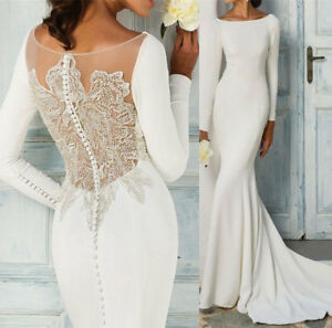 ca6c3e5ceaa Image is loading Mermaid-Beaded-Sheer-Back-Wedding-Dresses-Bridal-Gowns-