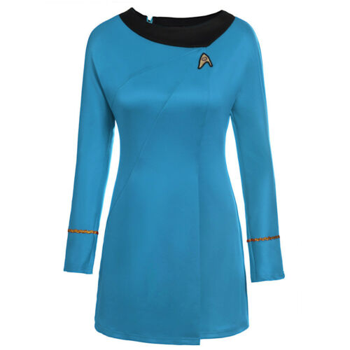 Classic Star Trek Female Duty Costume TOS Blue Uniform Red Dress Costume Adult