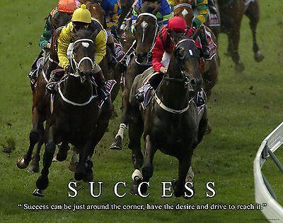 Horse Racing Motivational Poster Art Decor Cowboy Rodeo Saddle Success MVP470