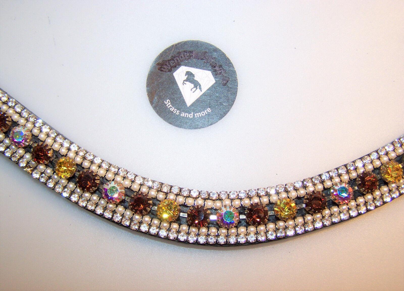 Breiter Stirnriemen geschwungen feuriger Strass gold braun Perlen WB cm 40 cm WB 9da836