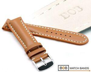 BOB-ECHT-KALBLEDERUHRBAND-CARAMEL-18-mm-fuer-Chronograph-Fliegeruhr-Goldbraun
