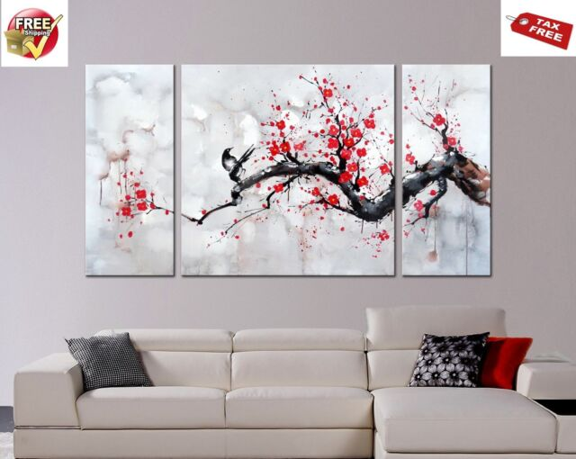 Japanese Inspired Wall Art Red Plum Blossom Hand Painted Canvas 3 Panel Framed