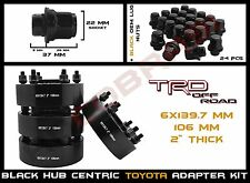 "4 Toyota 6 Lug 2"" Black Hub Centric Wheel Spacers Adapters + 12x1.5 Mag Lug Nuts"