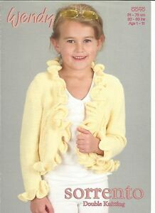 Lovely double knitting pattern for childs bolero with frill or buttons 20-30 in