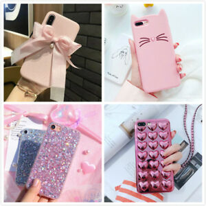 Image is loading Girly-Pink-Cute-Glitter-Kitten-Protective-Phone-Case-