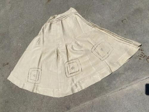 Antique Hand Embroidered Ecru Shangtun Silk Shift Dress Slip with Puff Skirt /& Cutwork Border