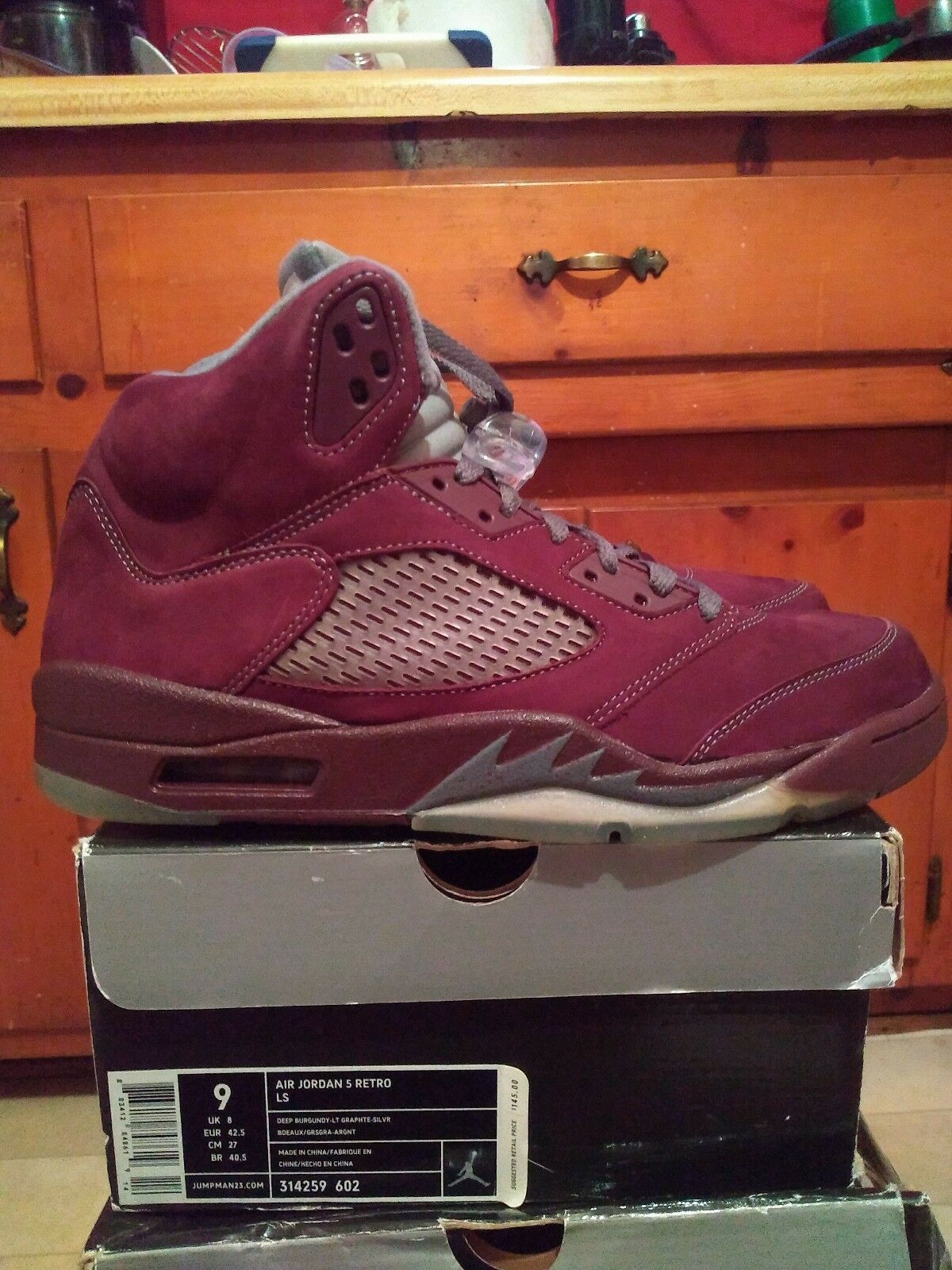 Jordan 5 Burgundy Dimensione 9 DS