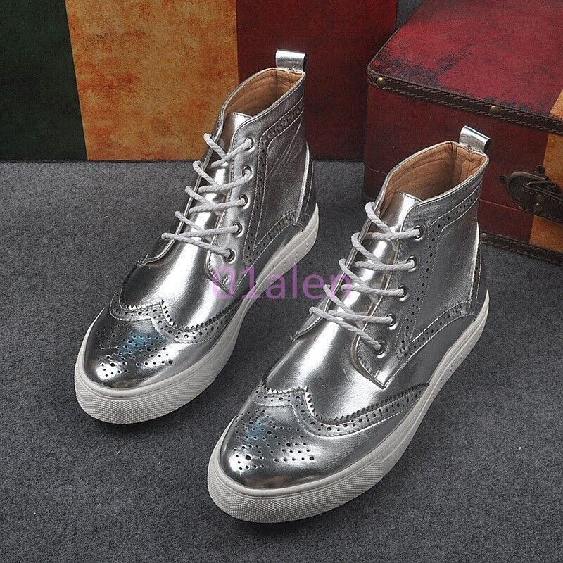Mens gold SIlver Hot High Top Wing Tip Leisure Sneakers Trainer Platform Strappy