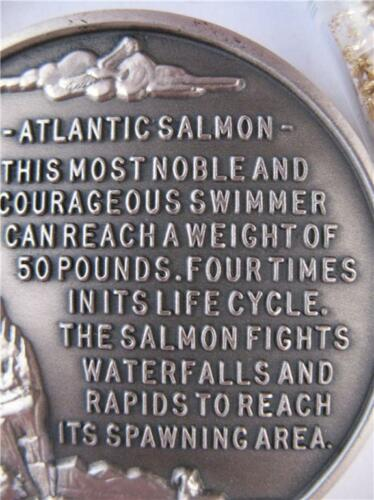 GOLD 1 STERLING SILVER WILDLIFE ATLANTIC SALMON 3D HIGH RELIEF  COIN OZ
