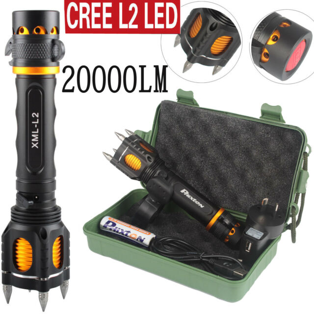 20000LM CREE L2 LED Tactical Flashlight USB Rechargeable Torch With Attack Heads