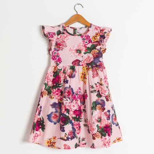Baby filles enfants bébé toddle Floral Sans manches Party Vêtements Princesse Robe S99