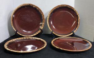 Vintage-Hull-Pottery-034-Brown-Drip-034-glaze-Dinner-Plates-10-1-2-034-USA-set-of-4