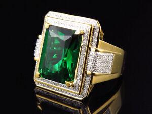 Yellow Gold Finish Royal Emerald Cut Created Emerald Genuine