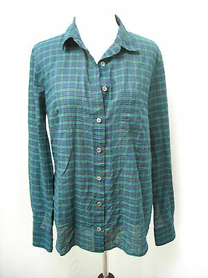 J Crew Crinkle Boy Shirt in Black Watch Plaid Hunter/navy size 6