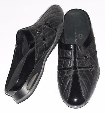 COLE HAAN~BLACK~PATENT LEATHER *QUILTED LEATHER* COMFORT TRAVEL CLOG SHOES~10