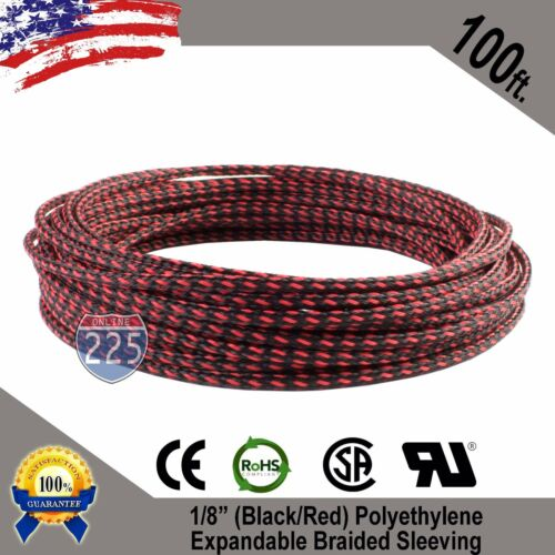 """100 FT 1//8/"""" Black Red Expandable Wire Sleeving Sheathing Braided Loom Tubing US"""
