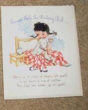 Vtg 1945 Rust Craft Birthday Card Working Girl Waking w Pig Tails Tuffs of Hair
