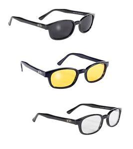 X KD's Sunglasses Original Biker Shades Motorcycle 3 pk Smoke Yellow Clear Lens