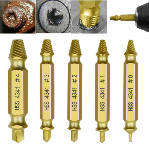 5x Damaged Screw Extractor Speed Out Drill Bits Tool Set Broken Bolt Remover