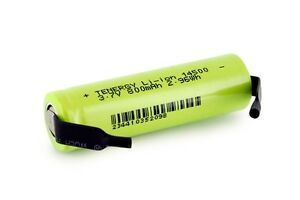 Tenergy Li-Ion 14500 Cylindrical 3.7V 800mAh Rechargeable Battery Cell w/ Tabs
