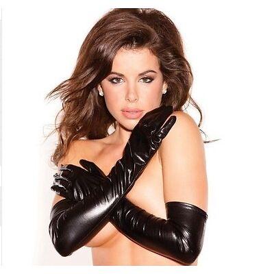 Sexy Wet Leather PVC Look Gloves Night Party Bondage Fetish Lengeries, UK Seller