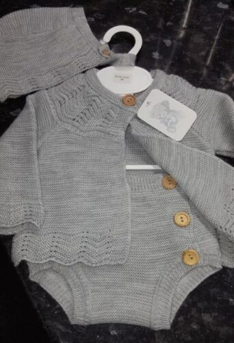 Spanish Style Baby Grey Knitted Cardigan Jam Pants and Bonnet Set 3 piece