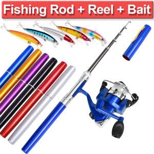 Details about UK Telescopic Mini Portable Pocket Fish Aluminum Alloy Pen Fishing Rod Pole Reel