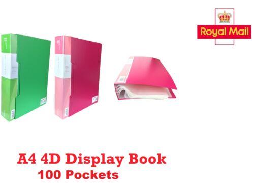 A4 Display Book 4D Presentation Polypropylene Cover Anti-Glare 100 Pockets 40mm
