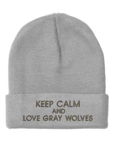 Keep Calm And Love Gray Wolves Embroidery Embroidered Beanie Skully Hat Cap