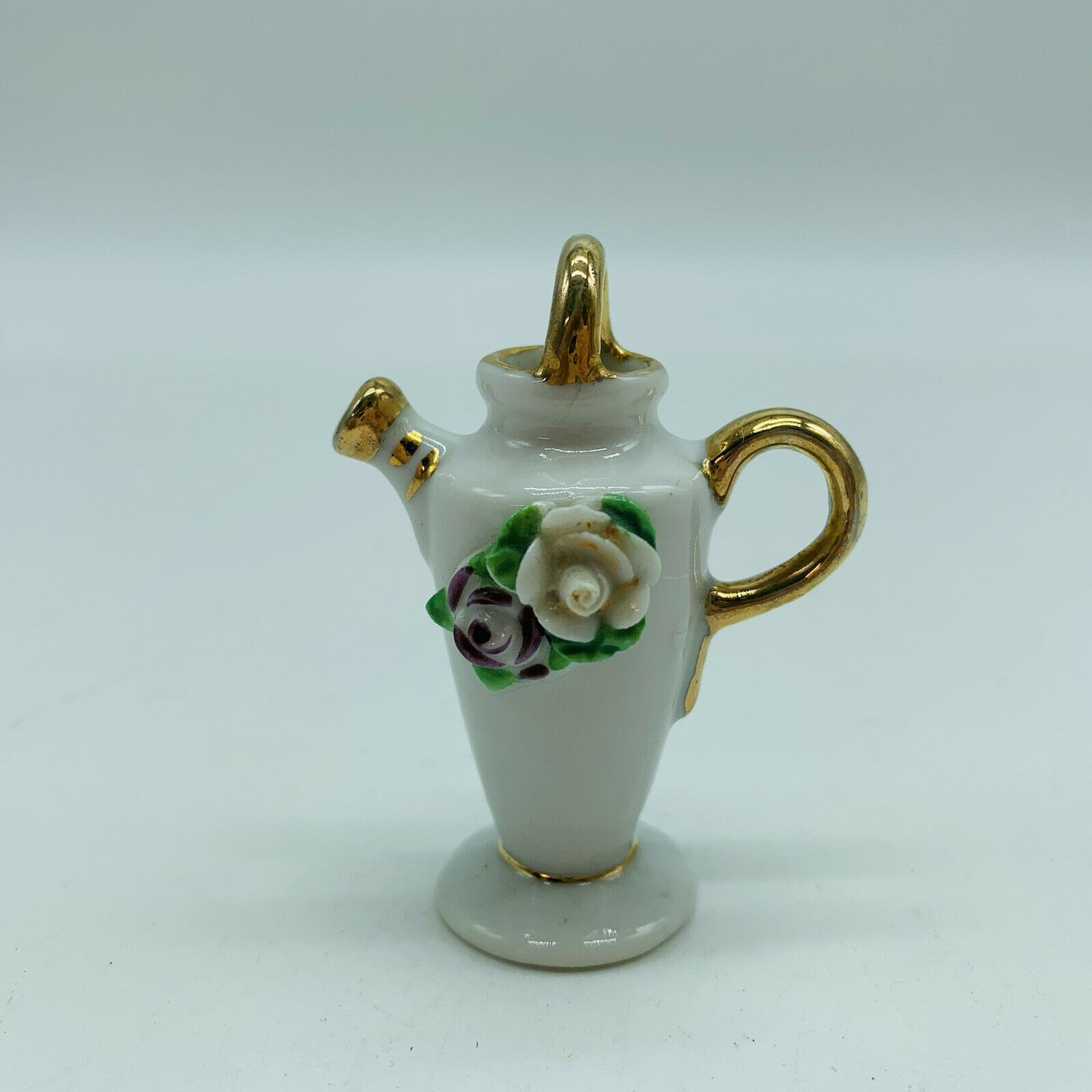 """Vintage Ceramic Watering Can Flowers on Front Japan 2 1/4"""" Tall"""