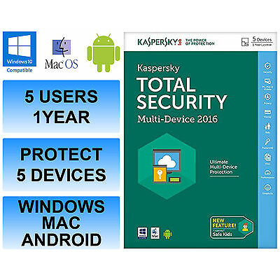 Kaspersky Total Internet Security 2016 Multi Device 5 Users 1 Year FFP DVD