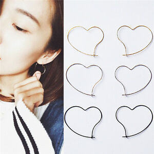 New-Fashion-Womens-039-Simple-Earing-Jewelry-Heart-Design-Hoop-Earring-Girl-Gift-LY