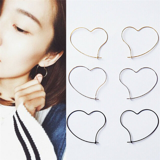 New Fashion Womens' Simple Earing Jewelry Heart Design Hoop Earring Girl Gift LY