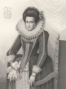 Portrait-Isabelle-d-039-Aragon-Duchesse-de-Milan-Gravure-XIXe