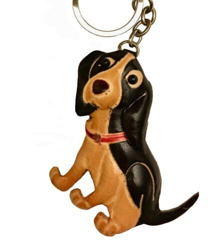 Leather key-chain shape Bag-charm,Black-mix Handmade Wiener Dog Dachshund