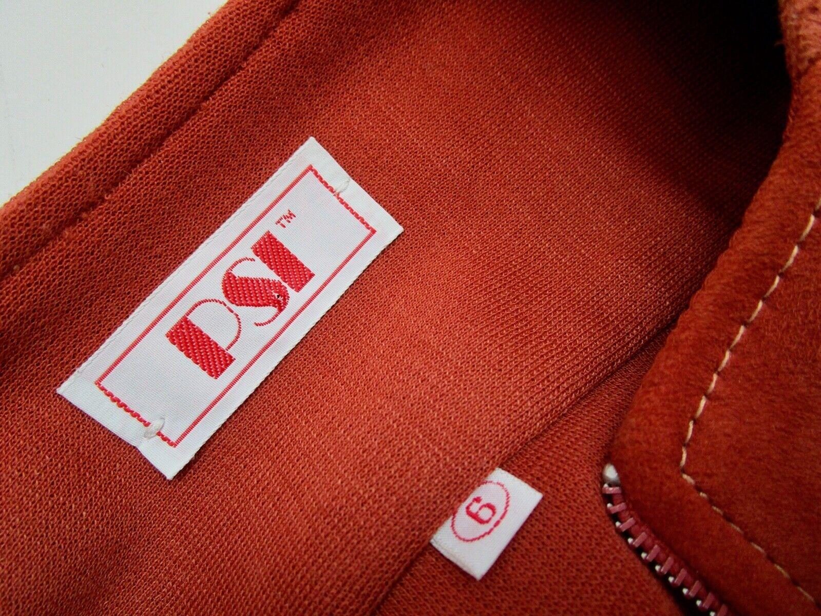 Vintage 70s Mod Orange PSI Leather Process Suede … - image 7