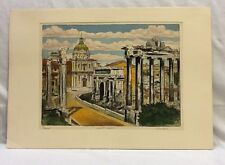Antique Color Etching of Forum Romanum Cathedral in Rome, Italy