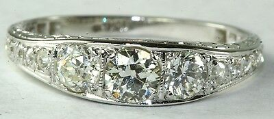 ART DECO ANTIQUE 18K WHITE GOLD .85 CARAT DIAMOND WEDDING BAND RING