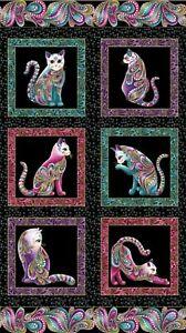 Cats-fabric-Panel-Cat-it-tude-Cotton-Quilting-Fabric-Panel-24-034-x-44-034-Benartex