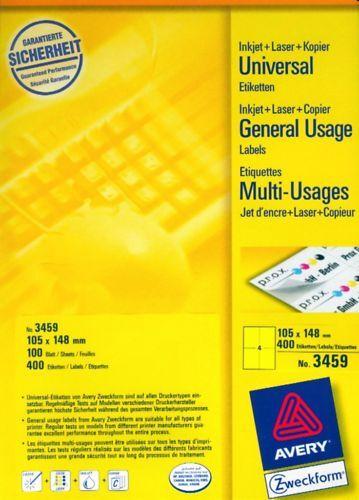 "40 Universal-Etiketten 105 x 148 mm ""gelb"", 10 Blatt, AVERY ZWECKFORM 3459"