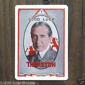 Original-1920s-THURSTON-THE-MAGICIAN-Jane-Throw-Out-Magic-Card-GOOD-LUCK-NOS