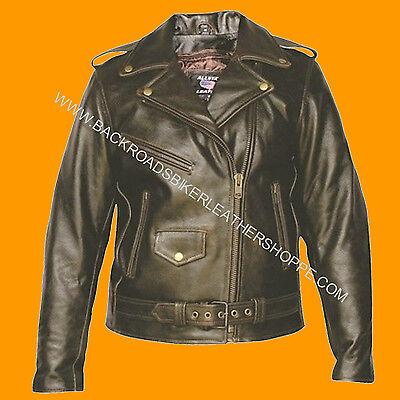 Women/'s Vintage Leather Biker Jacket Classic Motorcycle Style Coat Outwear