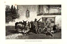 Stampa antica ROMA Contadini e asini campagna di Roma 1876 Old print Engraving