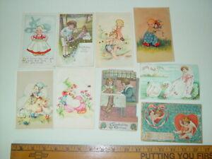 Antique-Lot-9-Postcards-Children-Kids