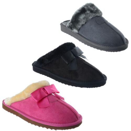 WOMENS LADIES WARM FAUX FUR LINED SLIPPERS MULES SLIP ON COMFY SOLE SHOES SIZE
